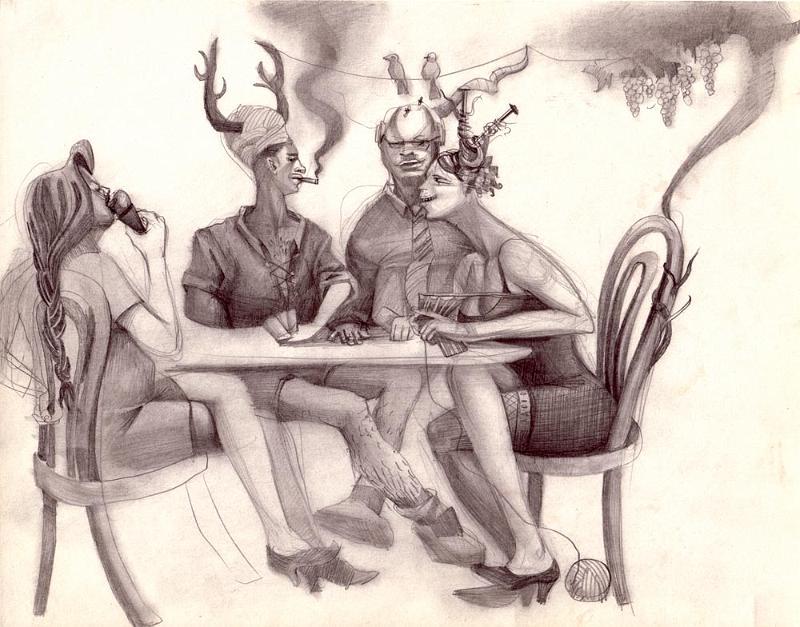 Dibujos de cuadros y camareros venecianos - Cuadros para bares ...